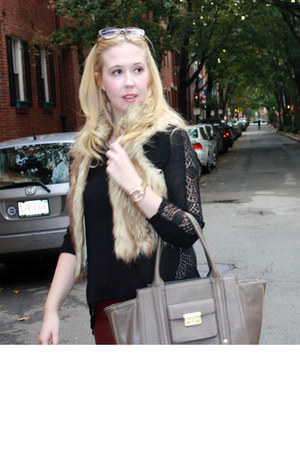 faux fur Loft vest - leopard print loeffler randall boots
