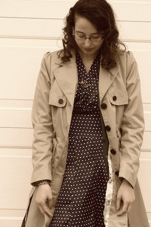 tan trench coat H&M coat - navy homemade dress
