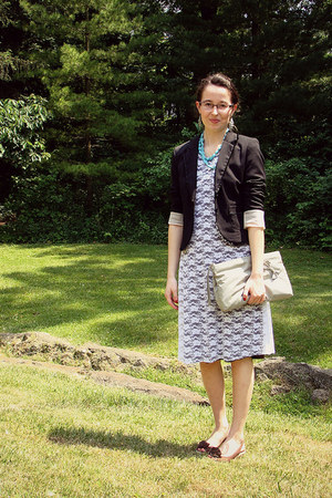 white lace dress homemade dress - black black blazer H&M blazer