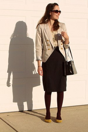 ivory lace Forever21 blouse - beige H&M blazer - purple Jcpennys tights