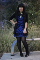 black 7 for all mankind blazer - blue Alice & Olivia dress
