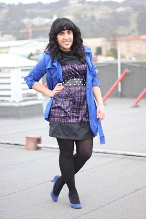 blue trench Forever 21 coat - deep purple Richard Chai for Target dress