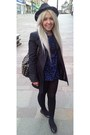 Navy-h-m-dress-black-charity-shop-coat-black-river-island-hat