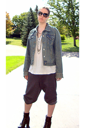 vintage jacket - Hanes t-shirt - Walmart pants - Nine West boots - Burberry sung