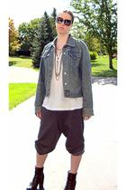 vintage jacket - Hanes t-shirt - Walmart pants - Nine West boots - Burberry sung