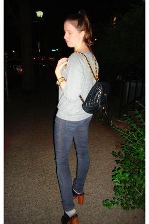 silver American Apparel top - black CurrentElliott jeans - black Jeffrey Campbel