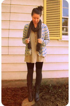blue hollister sweater - gray Elizabeth & James t-shirt - gray Target scarf - bl