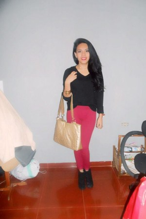 black local store c&a boots - ruby red Bershka jeans - mustard gold bag Aldo bag