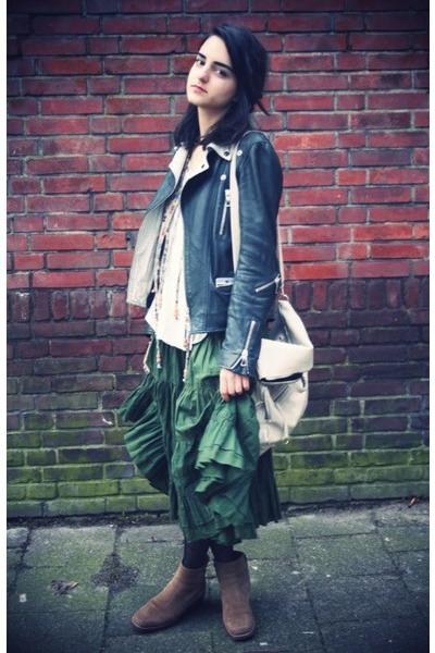 army green ruffled unknown skirt - beige navajo print vintage vest