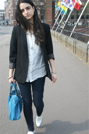 H&amp;M blazer - Zara blouse - Bertie shoes - Bershka jeans - online buy purse