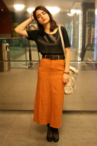 dark brown lace up diana boots - beige bag - burnt orange maxi skirt thrifted vi