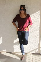 maroon blouse - brown boots - blue jeans - bronze sunglasses