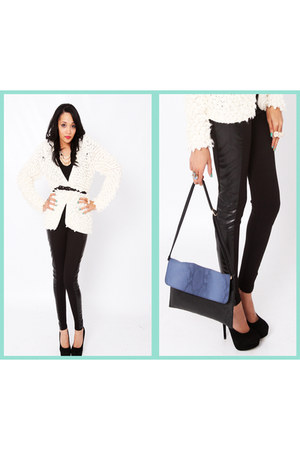 Mr Price leggings - Aldo heels - popcorn knit Pari & Max cardigan