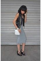 Legit skirt - H&M wedges - laether H&M vest
