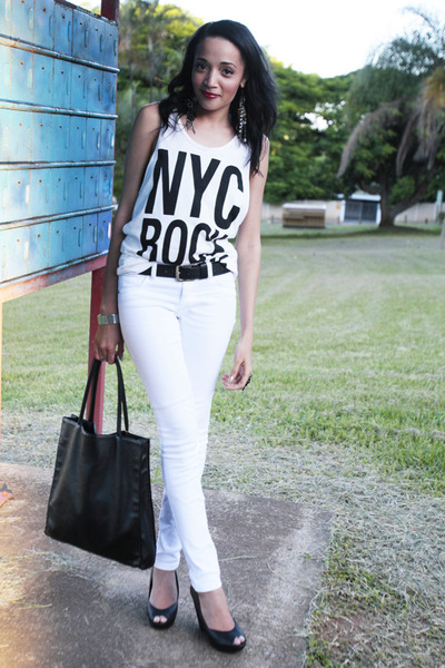 white Woolworths jeans - black H&M wedges