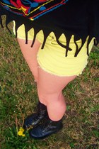 black Target boots - light yellow cut off denim Goodwill shorts - Rue 21 top