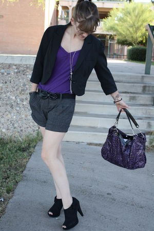 black Report shoes - black Express blazer - black Forever 21 shorts - purple For