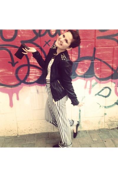 black studd Stradivarius jacket - black H&M pants