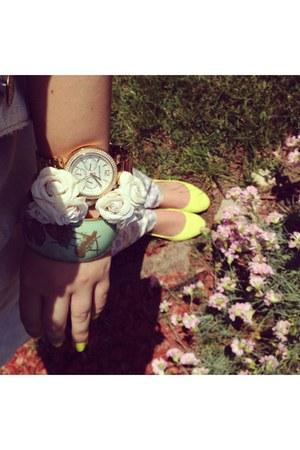 gold boyfriend Michael Kors watch - lime green comfy H&M flats