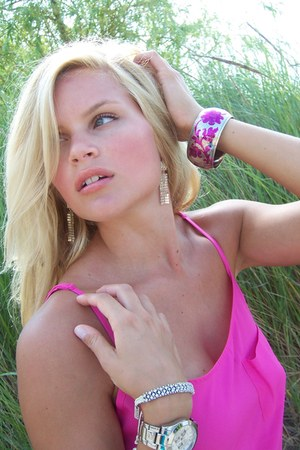 magenta Aldo bracelet - silver garage watch - hot pink H&M top
