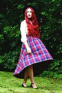 Fedora-acessorize-hat-tartan-alices-pig-skirt-basic-primark-blouse
