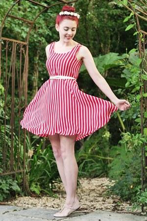 candy stripe yumi dress - headband Crown & Glory accessories - t-bar asos flats
