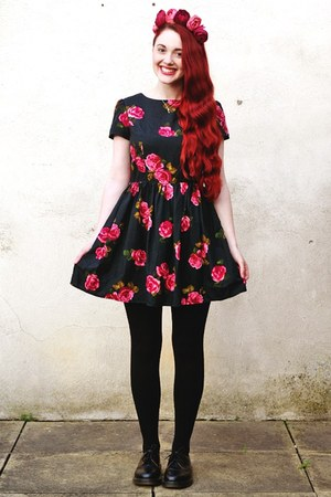 floral Primark dress - Dr Martens shoes