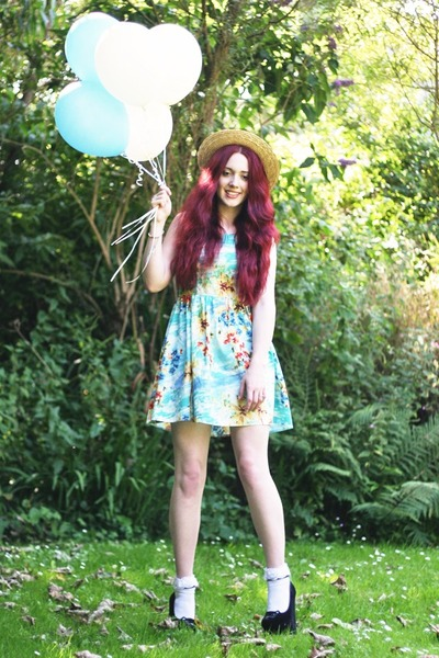 tropical dress - boater hat - lacey socks - kitty wedges