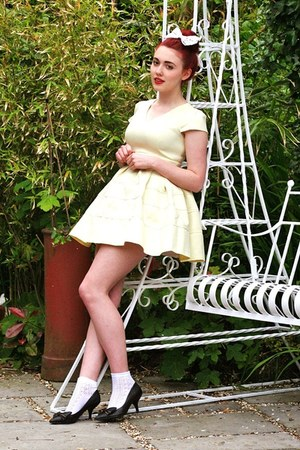 yellow embossed Chicwish dress - pointelle Topshop socks