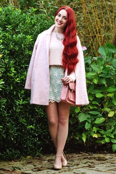 pink fluffy Topshop coat - block heel new look shoes - mint Chicwish dress