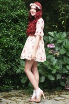 nude bow Dorothy Perkins heels - floral chiffon dress - frilly Topshop socks