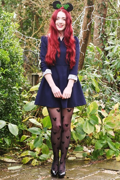 pearl detail romwe dress - mickey mouse Primark tights - patent H&M heels