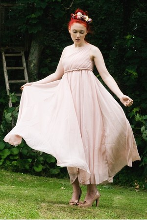 chiffon dress - flower crown accessories - nude heels