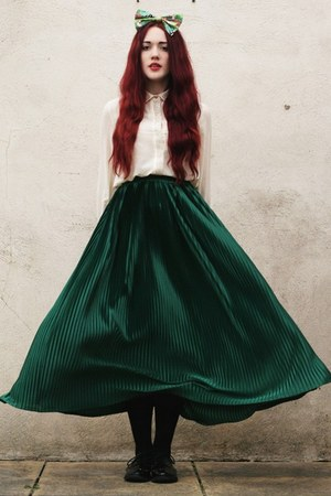 pleated skirt - bow accessories - studded blouse - studded brogue Ebay flats