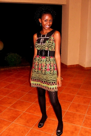 african designs dress - rockrt candy stockings - marian hall shoes