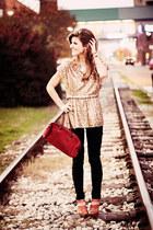 gold sequins Alice and Olivia shirt - Fendi bag