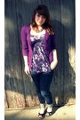 Blue-skinny-bullhead-jeans-purple-energie-cardigan-purple-floral-kirra-top-