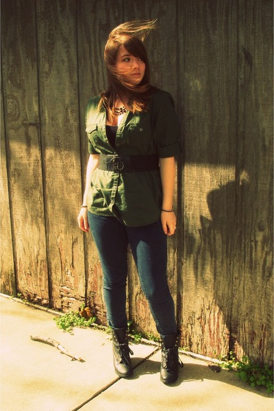 black lace up Rue 21 boots - blue ankle Old Navy jeans - army green sonoma shirt