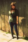 Black-lace-up-rue-21-boots-blue-ankle-old-navy-jeans-army-green-sonoma-shirt