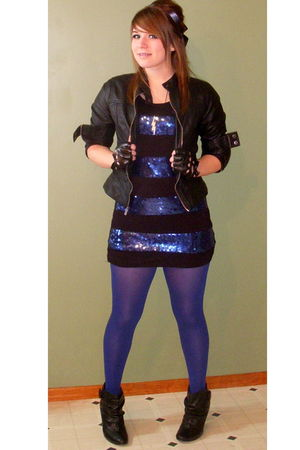 black Rue 21 jacket - blue Forever 21 dress - blue tights - black deb shoes - bl
