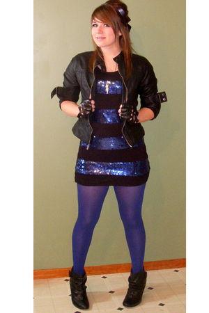 black Rue 21 jacket - blue Forever 21 dress - blue tights - black deb shoes - bl