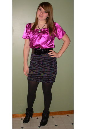 pink top - black belt - black Forever21 skirt - black vera wang tights - black d