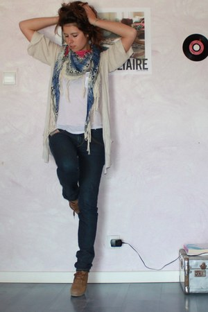 slim Diesel jeans - promode scarf - Zadig&Voltaire top - promode cardigan