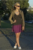 white H&M shoes - purple Urban Outfitters dress - army green gryphon jacket