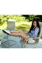 violet Forever 21 shirt - white American Eagle shorts - silver Converse sneakers