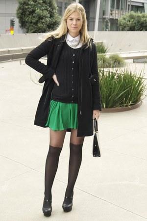 green Jay Godfrey dress - black Old Navy sweater - ivory asos blouse