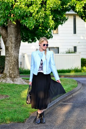 sky blue asos jacket - black asos skirt - white asos t-shirt