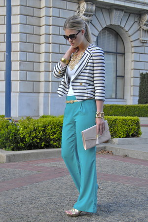 turquoise blue Forever21 pants - white BellJar blazer - bubble gum H&M purse