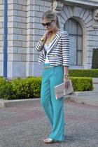turquoise blue Forever21 pants - white BellJar blazer - bubble gum H&M purse