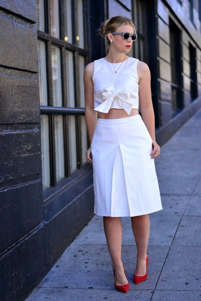 white asos top - white asos skirt - red Kurt Geiger heels